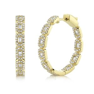 14K Yellow Gold Baguette Diamond Hoop Earrings Inside Outside Natural Push Lock