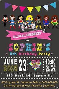 Personalised Wonder/Super Woman Bat/Spider Girl Superhero Birthday Invitation