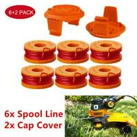 Replacement Spool Line For WORX WA0010 Grass Trimmer Edger 10ft w/ 2 Cap Cover