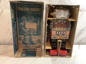 Vintage Piston Robot Made In Taiwan Battery Operated Pre -1970,SJM-3007 & Box