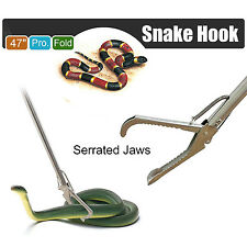 """47"""" Heavy Duty Snake Grabber Catcher Stick Reptile Tongs Wide Jaw Handling Tool"""