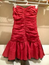 BETSEY JOHNSON EVENING DRESS Strapless Red/black Silk Ruched Tiered  SZ 2