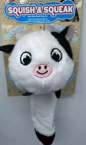 """Plush Dog Toy 10"""" Squish & Squeak Slow Rising Squishy Body Squeaky Tail Cow"""
