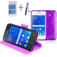 PURPLE Wallet 4in1 Accessory Bundle Kit Case Cover For Samsung Galaxy Young 2