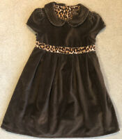 BABY GAP Size 5T Shirt Sleeve Brown Velvet Midi Dress Cheetah/Leopard Print Belt