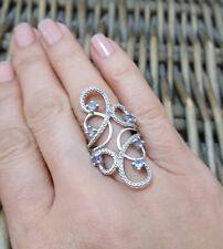 GEMPORIA/TGGC STERLING SILVER RING, WIDE ORIENTAL, TANZANITE & DIAMONDS, SIZE L½