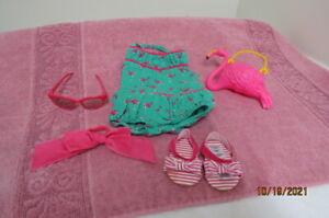 American Girl Doll Maryellen Swim Suit Bathing Sandals Flamingo Sandpail Glasses