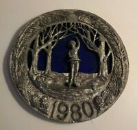 Micheal Ricker Pewter Plate 1980 Christmas In New England #1958 Limted Edition