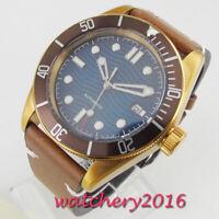 41mm Sterile Blau dial Date Bronze Saphirglas Automatisch Movement mens Watch