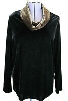 Coldwater Creek Women's 1X, Black Long Slv Velour Tunic Top, Hounds Tooth Cowl