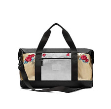 NEW VICTORIA'S SECRET PINK DUFFLE BAG SILVER GOLD ROSES TOTE TRAVEL WEEKENDER