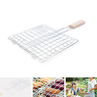 Barbecue Grilling Basket Grill Q Net Wooden Handle Meat Fish Vegetable  HK