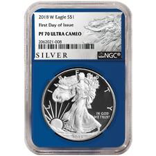 2018-W Proof $1 American Silver Eagle NGC PF70UC FDI ALS Label Blue Core