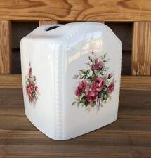 Athena Vb Usa Tissue Cover Square Box Floral Roses Red Green Ivory Ceramic Vtg