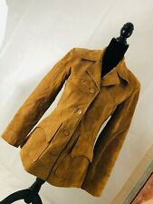 Vintage Patchwork Women Medium Leather Jacket Boho Suede Blazer Biker BoHo