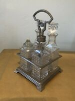antique vintage 4 Piece Condiment Set On Metal Stand/collectable Decanters &Tray