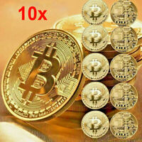 10Pcs Gold Bitcoin Commemorative 2020 New Collectors Gold Plated Bit Coin