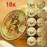 10PCS Gold Plated Bitcoin Coin Collectible Gift BTC Coin Art Collection Physical