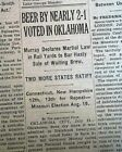 END OF PROHIBITION 18th Amendment Repeal BEER RETURNS in OK CT NH 1933 Newspaper