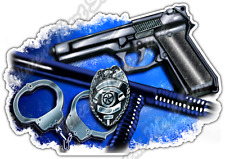 "Police Officer Gun Fire Arms Badge Law Car Bumper Vinyl Sticker Decal 5""X4"""