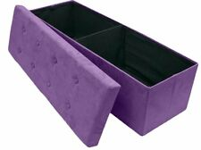 NEW Large Foldable Light Purple Faux Suede Fabric Covered Ottoman Storage Bench