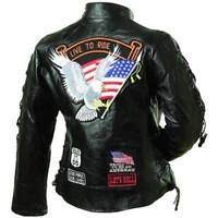 Ladies Leather Biker Motorcycle Harley Rider Chopper Jacket Eagle Patch