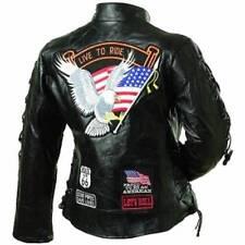 Ladies' Rock Design Genuine Buffalo Leather Good Quality Motorcycle Jacket 2xl