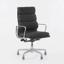 1985 Black Fabric Eames Aluminum Group Soft Pad Executive High Back Desk Chair