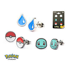 OFFICIAL POKEMON SQUIRTLE FACE, WATER DROPLET AND POKEBAL SET OF 3 STUD EARRINGS