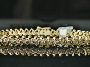 Diamond Solitaire S Type Link Bracelet Ladies 14K Yellow Gold Round Cut 3 Tcw