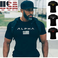 ALPHA Gym Men T-Shirt Muscle Fitness Cotton Fit Tee Workout Top Athletic Clothes