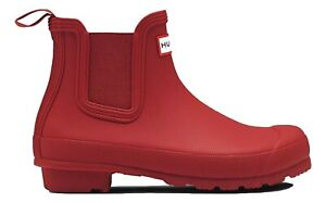 SALE New Ladies Hunter Chelsea Waterproof Ankle Boots Military Red Size  UK 5
