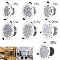 3W 5W 7W 9W 12W 15W 18W Dimmable LED Recessed Ceiling Down Light Lamp AC 85-265V