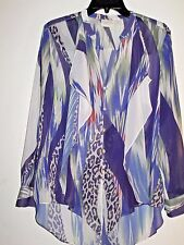 CHICO'S 1 (8/10-M) POLYESTER BUTTON RUFFLE TUNIC BLOUSE TOP -$21.49