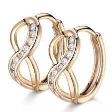 Retro Infinity No.8 18K Gold Filled Diamond Clear Topaz Inlay Lady Hoop Earrings