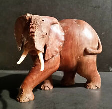 Vintage Carved Heavy Wood 7 inch tall Elephant from Zimbabwe signed M. Machokoto