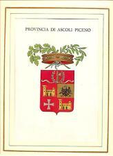 Stemma della PROVINCIA ASCOLI PICENO in CROMOLITOGRAFIA del 1937 in passepartout