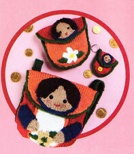russian girl back pack purse and keyring knitting pattern 99p