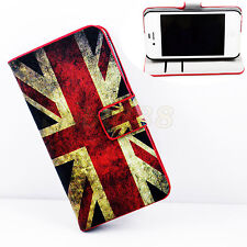 UK Flag Style Card Wallet Leather Stand Cover Case For Apple iPhone 4S 4G 4GS