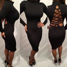 Connie's Black Long Sleeved Open Lace up back Cocktail Party Dress L