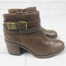 LUCKY BRAND Booties Cognac Tan Leather Side Zip Raisa Moto Ankle Boots Size 7.5