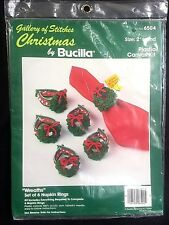 Bucilla Christmas Wreath Napkin Ring Crewel Needlework Kit 6 Plastic Canvas
