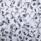 7mm Round White Number Acrylic Beads letter bead for bracelet 100pcs/bag 103133