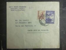 1940s La Palma Canary Island Spain Commercial cover To Tenerife