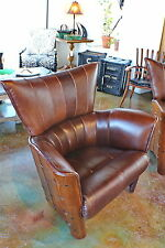 """40"""" W Beautiful arm chair soft Italian red brown leather solid exotic hard wood"""