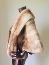 vintage Fur Mink Cape Poncho Blonde Beige Honey Golden Bolero  Small 10/12