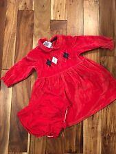 EUC Tommy Hilfiger Baby Girl Red Velour Dress 12-18 Months Argyle Print