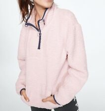 Victoria Secret PINK SHERPA SWEATER QUARTER ZIP Light Pink MEDIUM - NEW