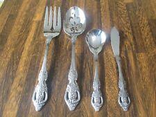 4 pcs Sss Oneida Usa Pembrooke/Renoir Stainless Serving/Sugar/Meat Fork Knife