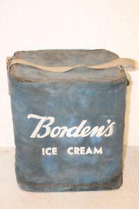 ANTIQUE BORDEN ICE CREAM COOLER MILK  DAIRY BOX ADVERTISING CANVAS